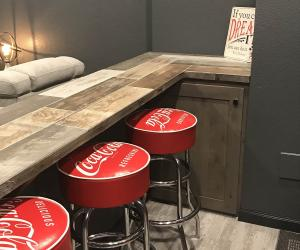 Bar seating area with coca-cola chairs