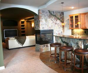 Basement Bar and Theater with Fireplace