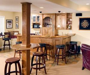 Basement Bar Area with Architectural Detail