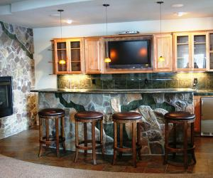 Basement Bar with Stone Features