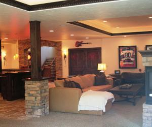 Basement Media Area with Fireplace