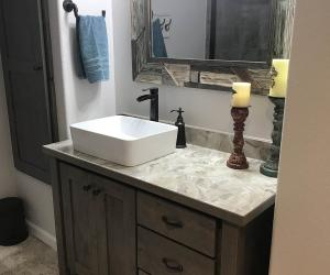 Bathroom with tall sink