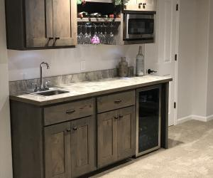 Custom wet bar with wine rack