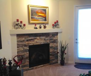Fireplace next to exit