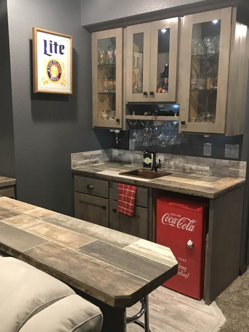Bar with coca cola fridge custom integrated designs ltd for Bj custom designs